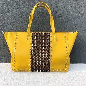 Beautiful Mustard Bag With Studs